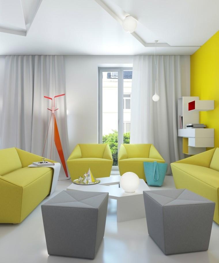 salon moderne fauteuil jaune pouf gris design intérieur moderne