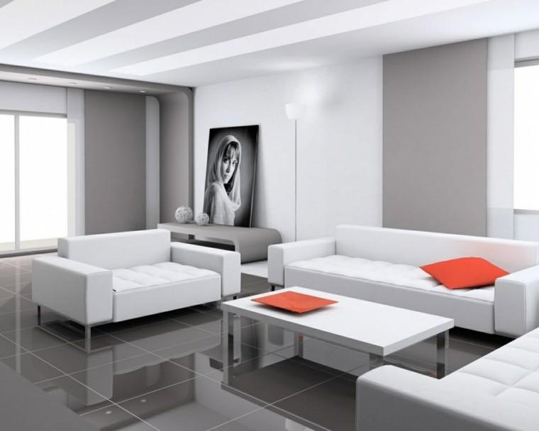aménagement salon canapé blanc déco photo idée mur carrelage salon gris foncé