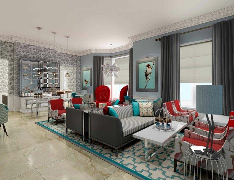 gris rouge bleu salon canapé idée carrelage original moderne salon