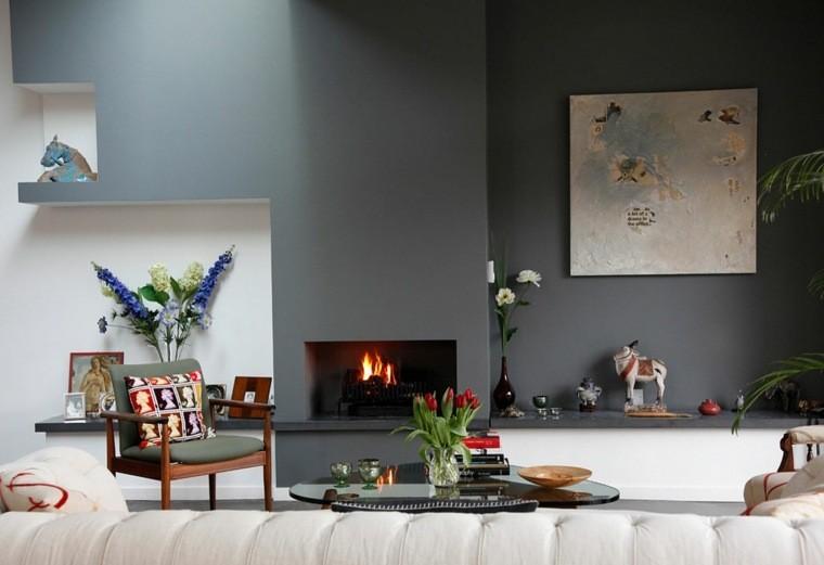 mur peinture salon gris déco cadre fauteuil table basse canapé blanc