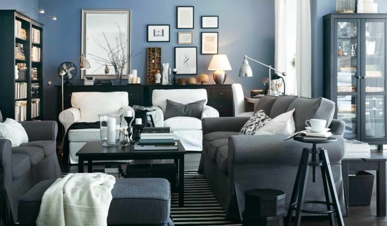 salon intérieur gris moderne design compositions cadres salon moderne gris