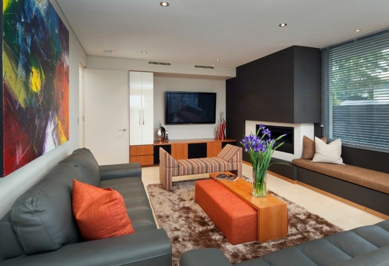 salon moderne gris harmonie couleurs