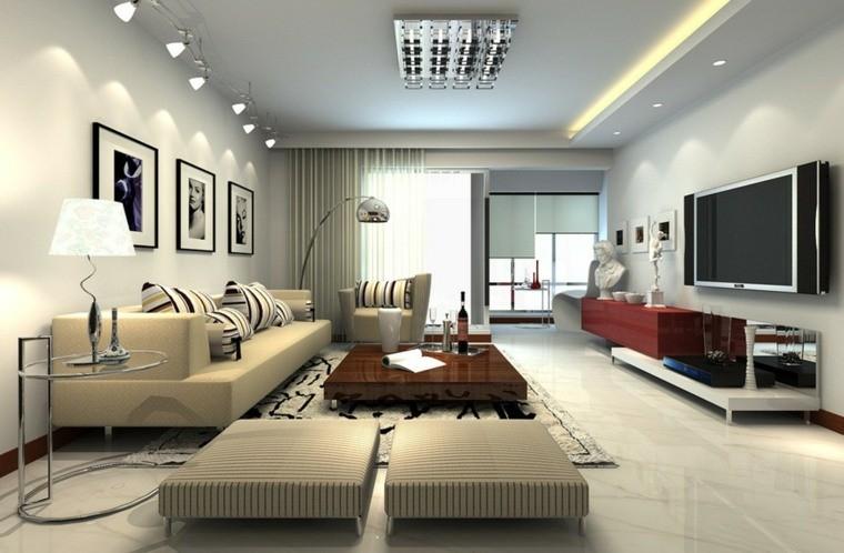 salon moderne gris idée salon décoration originale table basse en bois poufs beiges
