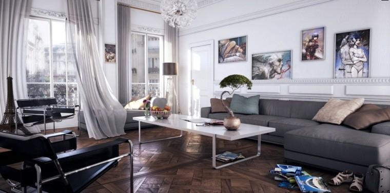 aménagement salon moderne tableau déco mur composition rideaux blancs parquet