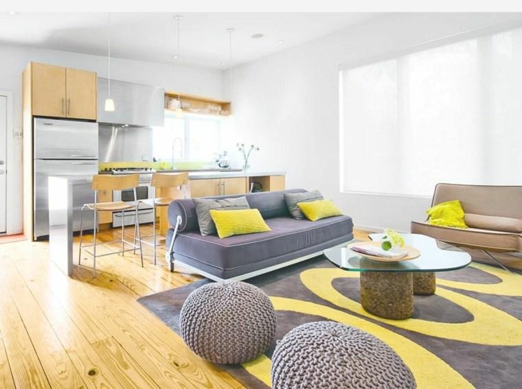 salon moderne gris meubles jaunes