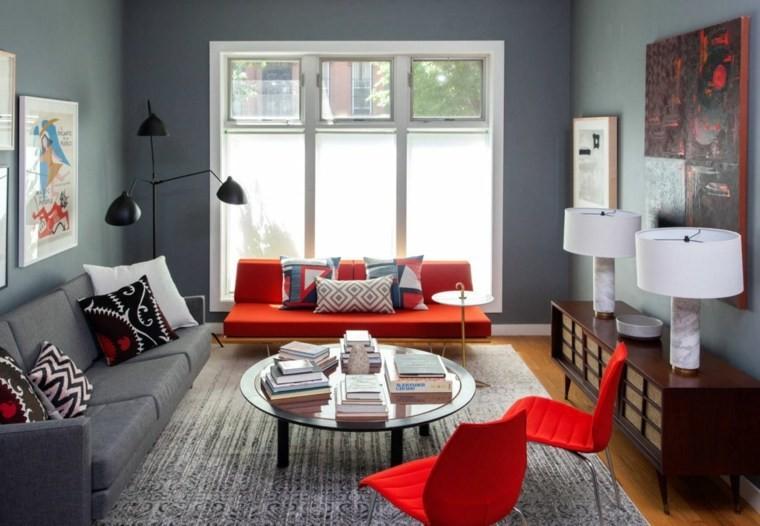 salon moderne gris mobilier rouge