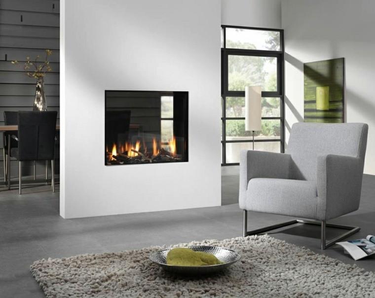 salon gris design idée aménagement tapis de sol cheminée intérieure déco