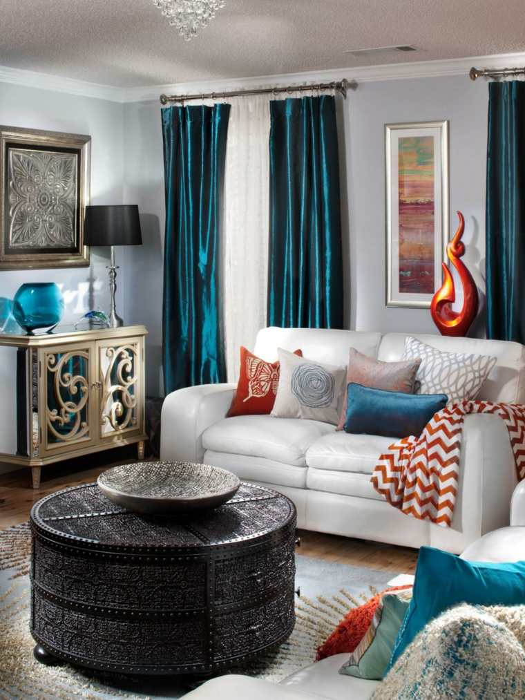 aménager salon moderne gris table basse oriental style design rideau