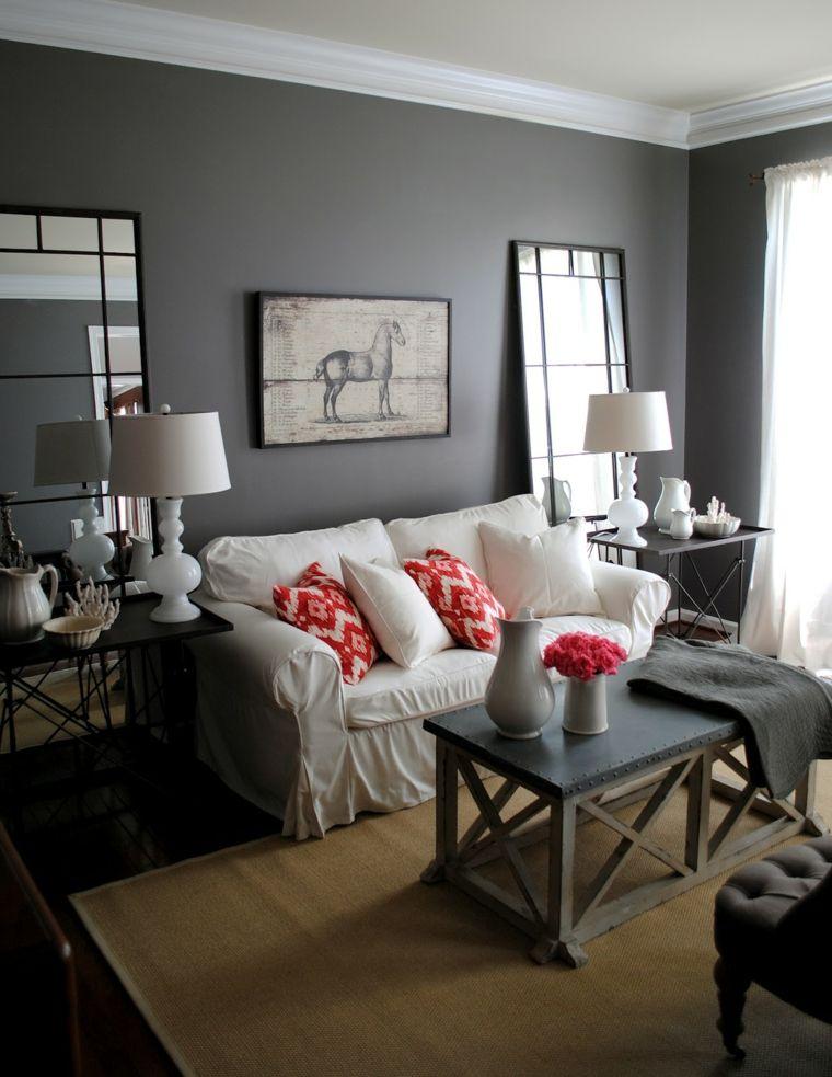 salon moderne gris contemporain design canapé blanc coussins oranges rouges déco mur