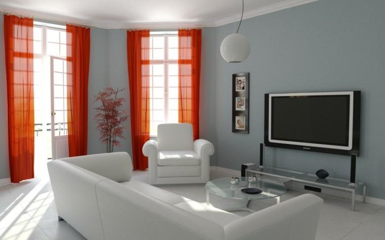 aménager salon moderne gris idée mur peinture bleu clair gris design canapé cuir blanc