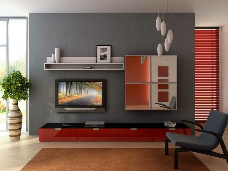 salon loderne gris aménager salon moderne design idée meuble TV miroir fauteuil gris foncé moderne luminaire suspendu