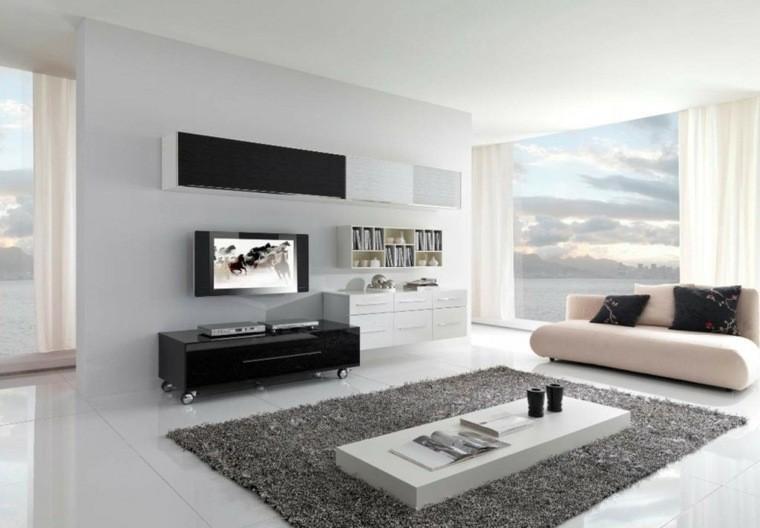 canapé rose claire design idée salon aménagement tapis de sol gris meuble TV