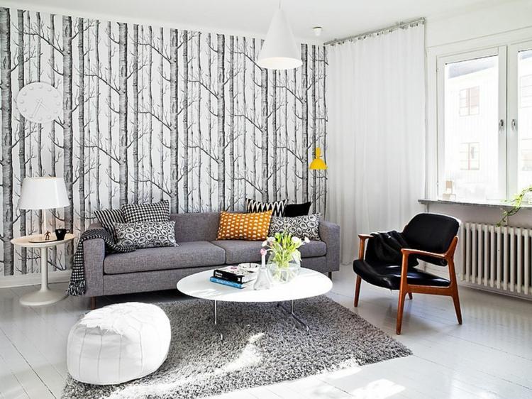 déco salon scandinave gris blanc