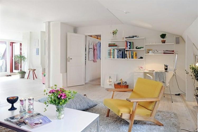 déco salon scandinave fauteuil jaune