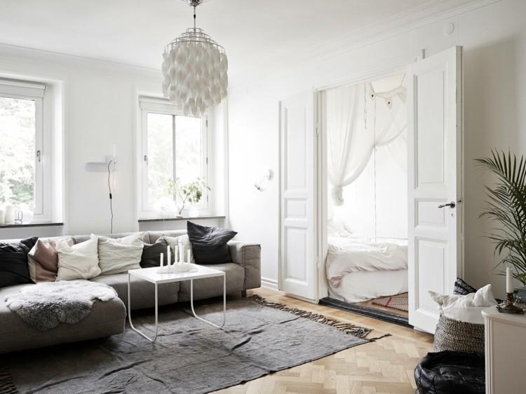 déco salon scandinave tapis gris