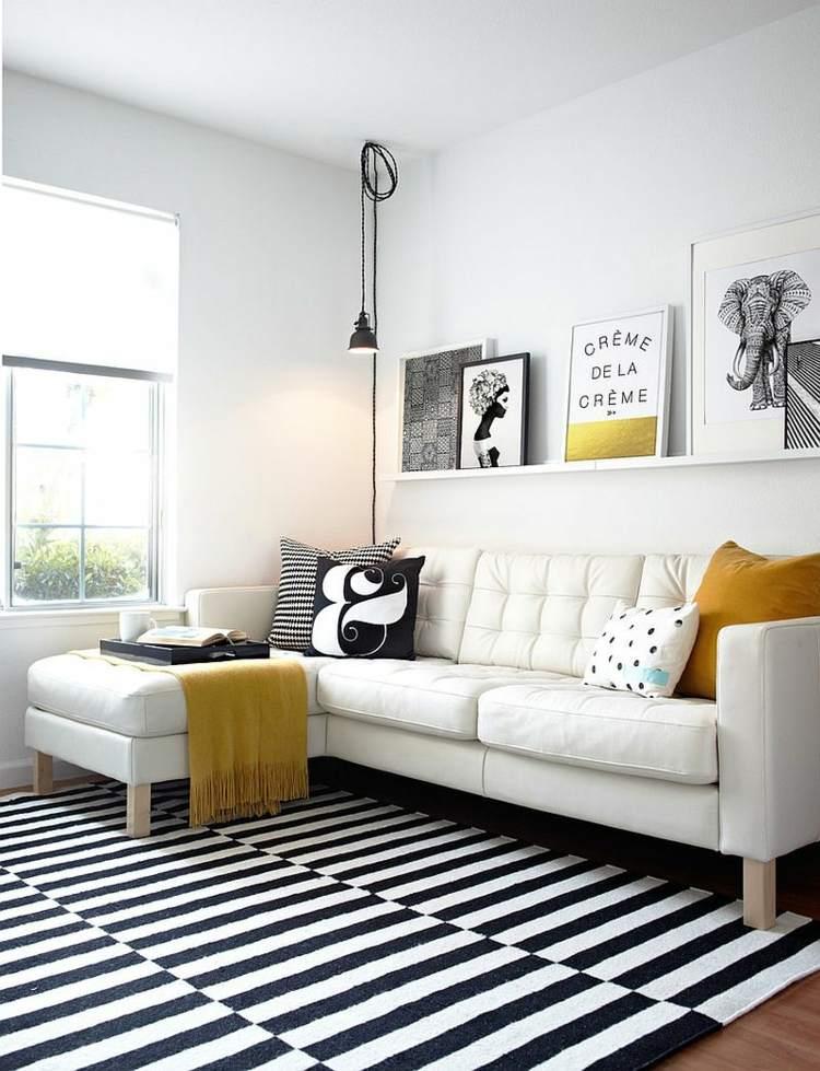 déco salon scandinave tapis noir blanc