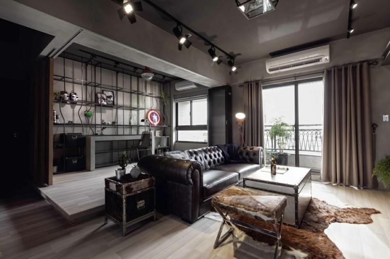 aménagement intérieur salon peinture nuance foncee