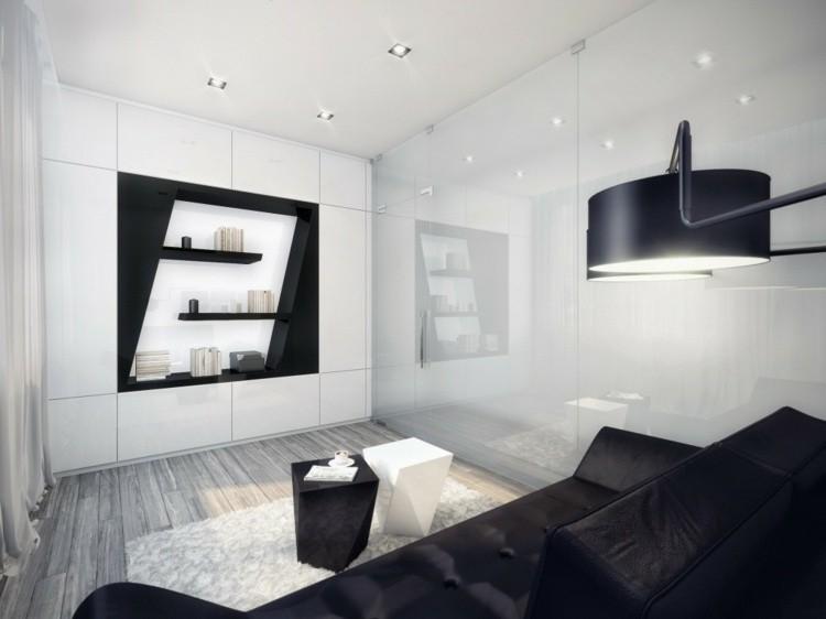 decoration petit salon noir blanc