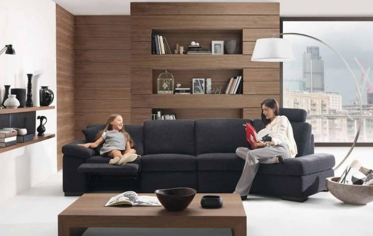 idée déco petit salon meubles bois