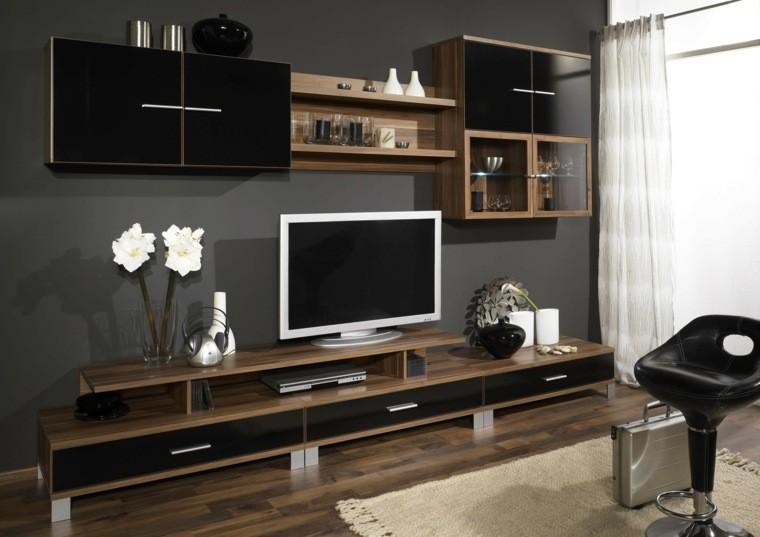 décoration bois salon noir