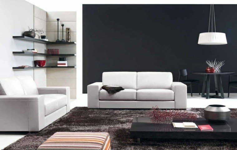 palette de couleur fonce decoration salon meubles blancs