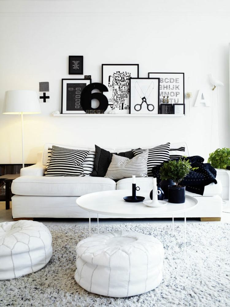 salon scandinave design noir blanc