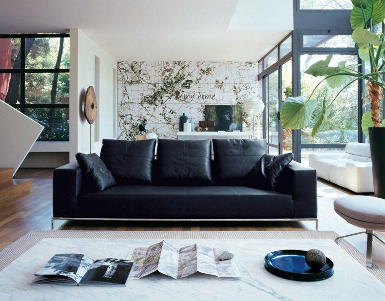 salon scandinave moderne canape noir