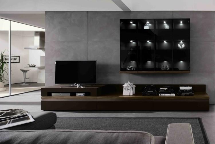 decoration salon meuble tele bois