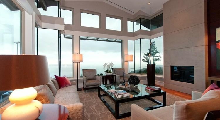 idee decoration salon cheminee