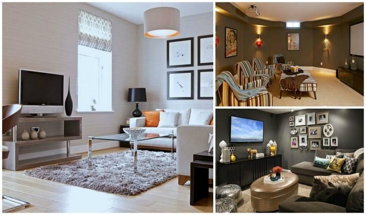 Aménagement petit salon avec télé de style moderne
