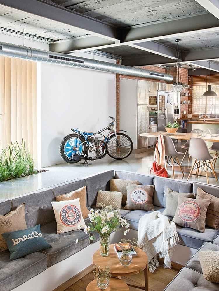 salle de séjour design canape gris