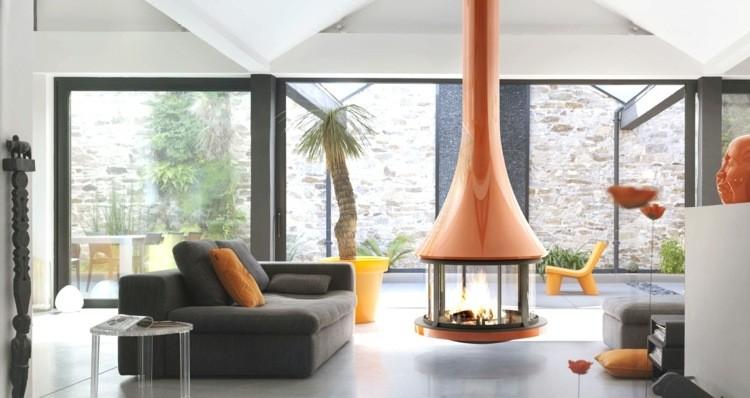 salle de séjour design cheminee moderne