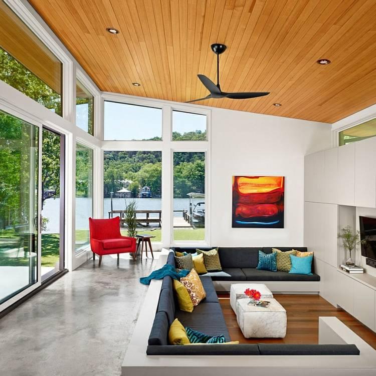 salle de séjour design moderne grandes fenetres
