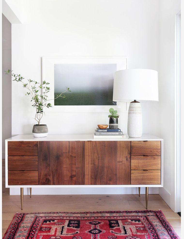 salon déco meuble-scandinave-table-console-bois-pieds-metal-idee