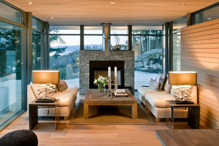cheminee salon pierre idee