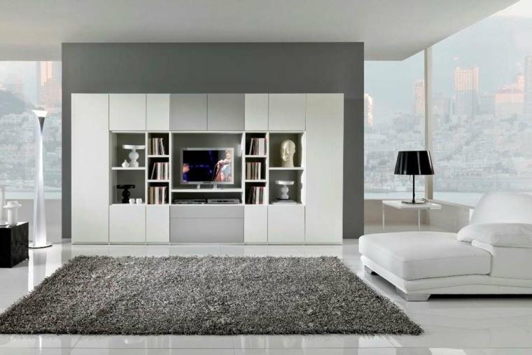déco intérieur salon meuble bois blanc fauteuil tapis de sol gris luminaire noir