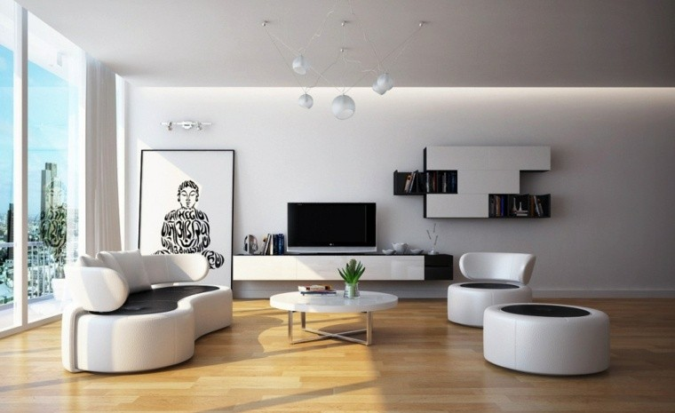 intérieur salon moderne canapé table basse cadre bouddha pouf noir et blanc parquet