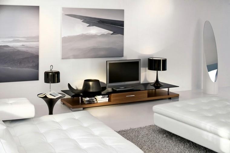 déco salon mur cadre table en bois pouf blanc tapis de sol gris design meuble tv