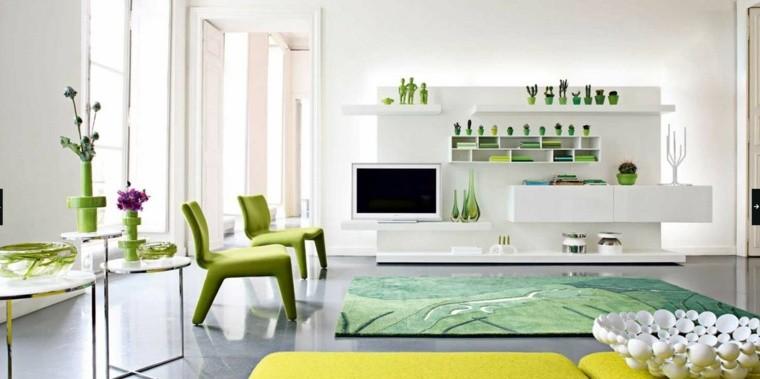 déco salon intérieur moderne tapis de sol vert fauteuil étagères meuble tv