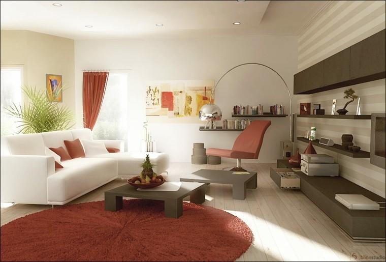 déco salon moderne idée tapis de sol marsala table basse grise canapé blanc coussin meuble moderne