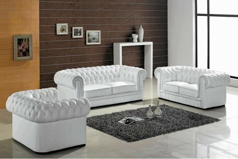 déco salon blanc design fauteuil canapé tapis de sol gris