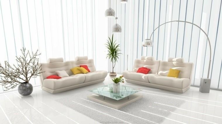 déco salon blanc coussin canapé blanc tapis de sol table basse en verre plante