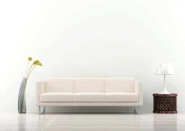 déco salon en blanc design canapé fleurs bouquet table basse carrelage