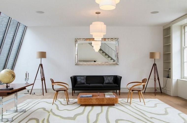 déco salon canapé noir design idée luminaire suspendu table en bois basse chaise