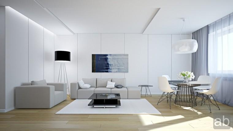 intérieur déco salon blanc idée canapé gris cadre mur fleurs déco salle à manger table luminaire suspension tapis de sol blanc