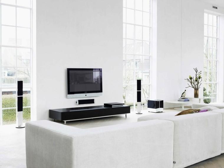décoration canapé blanc design déco plante fleurs télé meuble tv