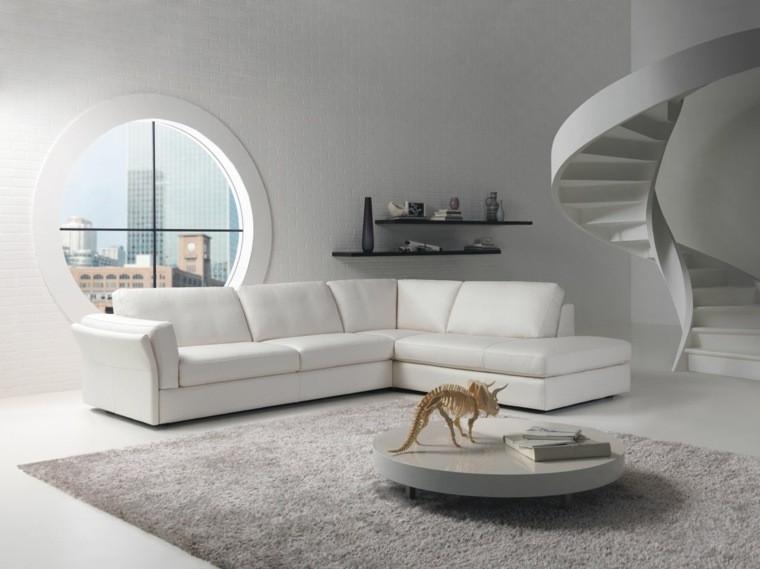 déco salon blanc table basse tapis de sol canapé d'angle blanc escalier