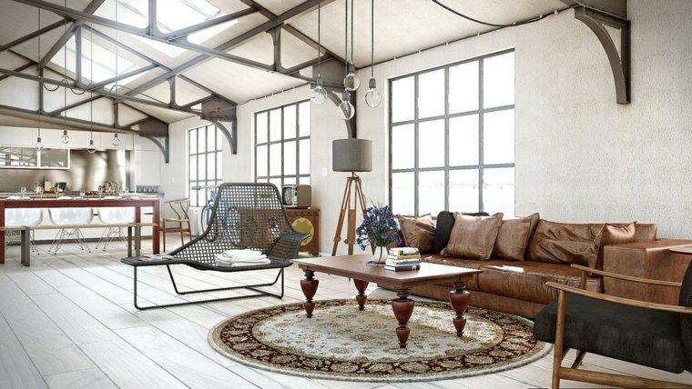 intérieur salon style industriel design canapé marron cuir tapis de sol rond table basse bois design