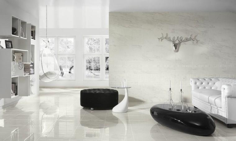 déco salon blanc noir design idée mur marbre
