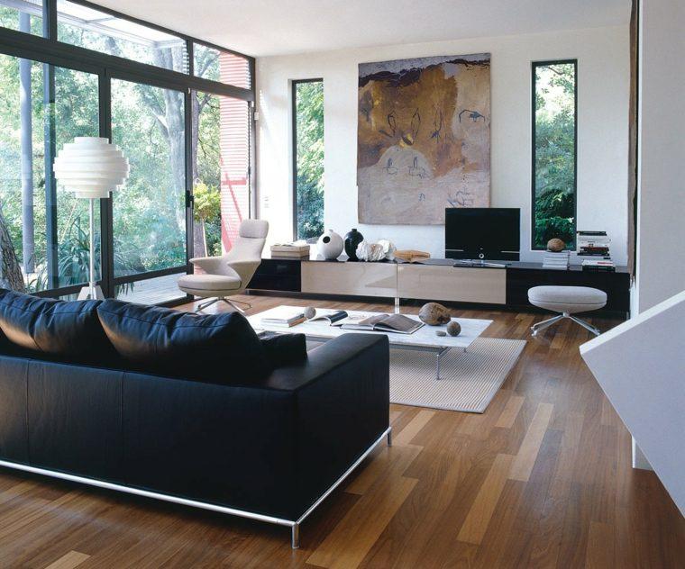 déco salon noir et blanc design canapé moderne luminaire tableau mur meuble tv